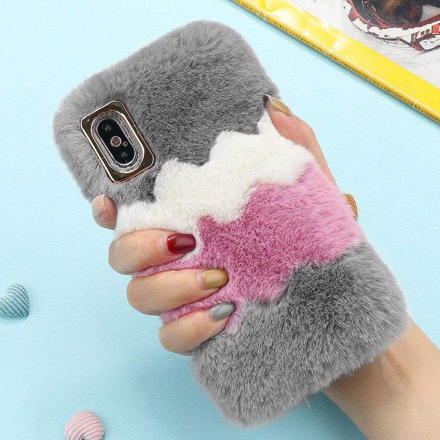 Bonita funda LCHULLE para Apple IPhone 11 Pro X XR XS MAX 7 8 Plus 6 6S 5 5S SE 2020 suave y cálida funda protectora de piel mullida