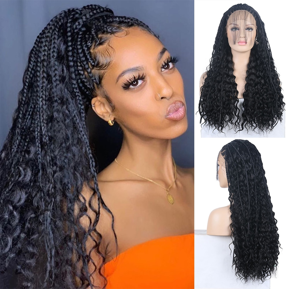 AIMEYA Long Curly Braided Lace Front Wigs for Black Women Box Micro Synthetic Lace Wig High Temperature Hair Black Braids
