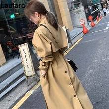 Lautaro Autumn Khaki Long Oversized Trench Coat for Women Raglan Long Sleeve Belt Loose Korean Fashi