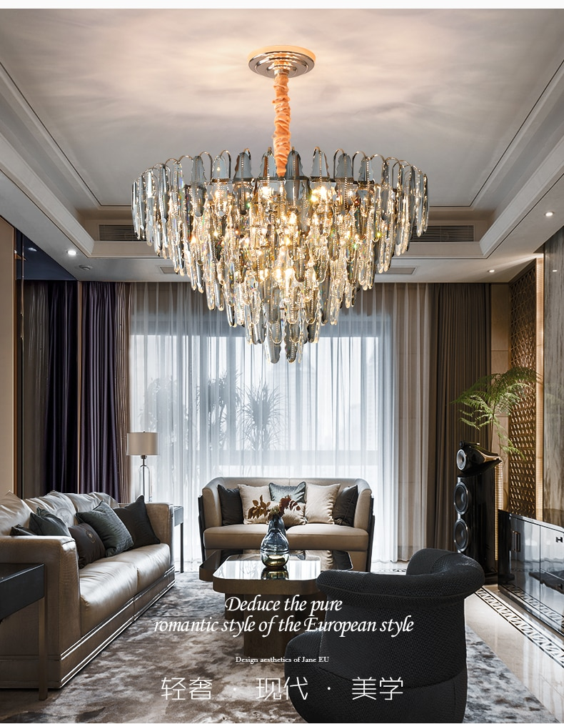 pos moderna luz lustre de cristal luxo sala estar lampada atmosfera moderna e minimalista