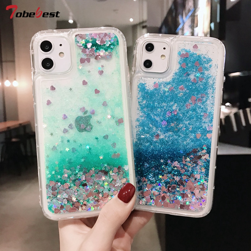 Capa com glitter líquido para iphone, capa para iphone 11 pro xr xs max x 8 7 6s 6 plus se 5S coque de silicone macio da areia da estrela do tpu