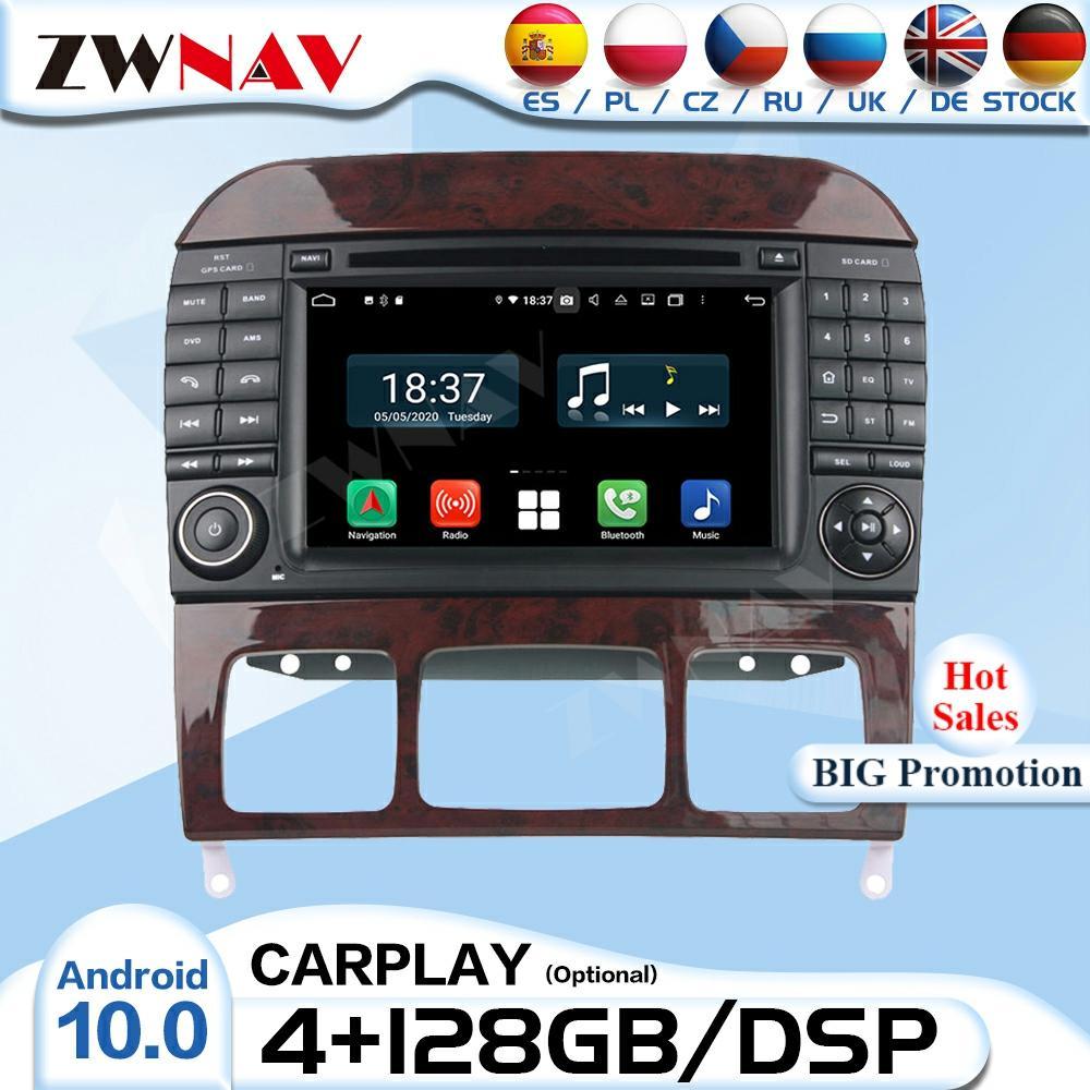 128G 2 Din Carplay أندرويد راديو استقبال لمرسيدس S-Class W220 S280 S320 S350 السيارات الصوت ستيريو مشغل فيديو وحدة رئيس لتحديد المواقع
