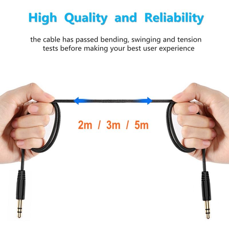 2/3/5m AUX de Nylon trenzado Cable de extensión de auriculares de 3,5mm...