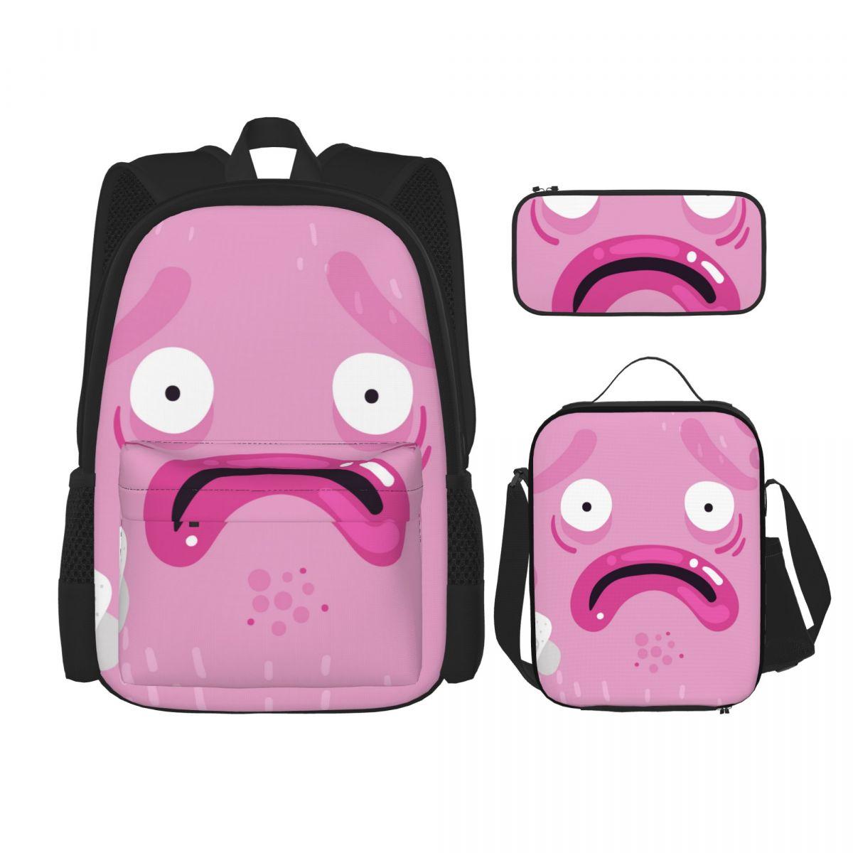 3 قطعة حقيبة المدرسة مجموعة مضحك وحوش وجوه الوردي حقيبة عادية طالب حقائب مدرسية حقائب للمراهقين بنين بنات