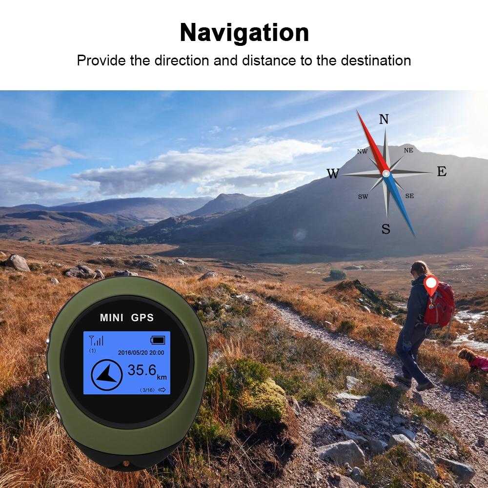 Mini rastreador GPS portátil, receptor de navegación, localizador de ubicación, USB recargable con brújula electrónica para viajes al aire libre, senderismo