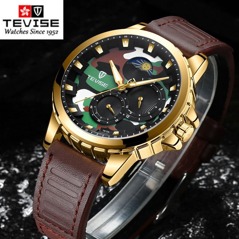 TEVISE relojes para hombre, de marca superior, resistente al agua reloj de lujo, reloj de pulsera de cuero mecánico de fase lunar, relojes de pulsera de regalo para hombres, relojes
