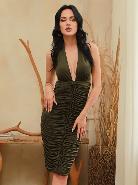 CY New Summer Halter Deep V Neck Sexy Dress Women Bodycon Backless Evenging Party Costume Fashion Be