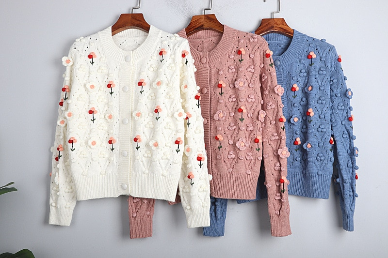 1101 2020   Autumn Sweater Free Shipping Crew  Neck Long Sleeve Kint  Pink Blue  White Fashion Womens Clothes  S m L    dl