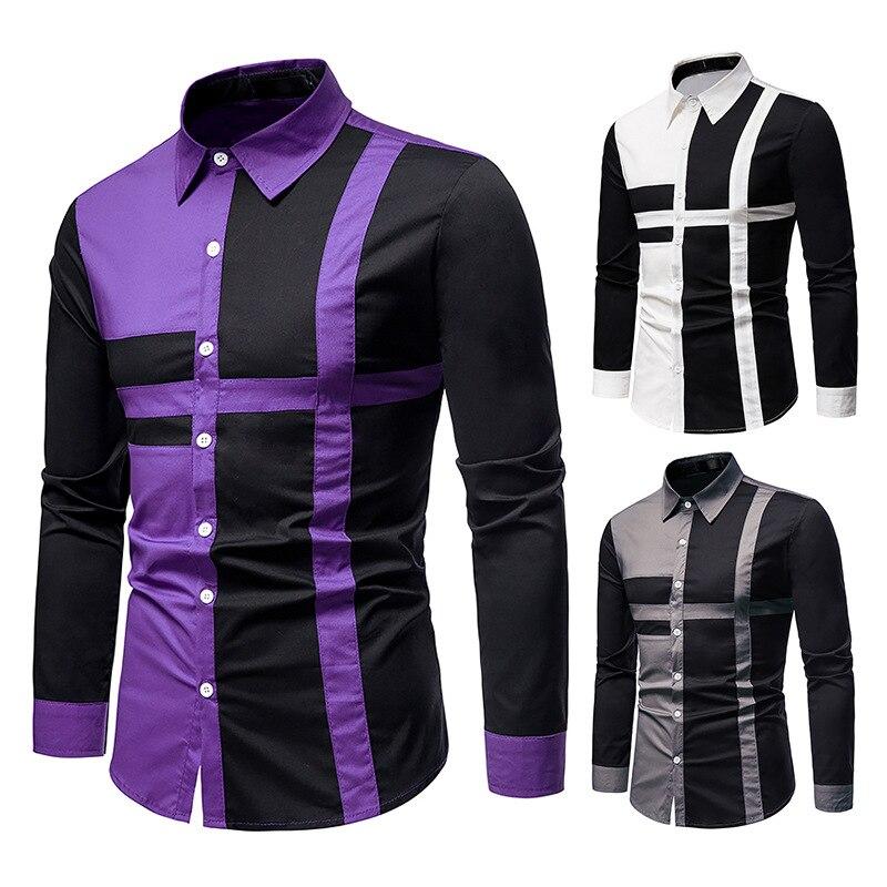 Фото - Мужская рубашка, Новая европейская Мужская рубашка, комбинированная рубашка с длинным рукавом, мужская рубашка, модная рубашка, рубашка wrangler рубашка