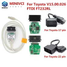 TIS Techstream V15.00.026 pour TOYOTA MINI VCI J2534 pour Toyota 22pin 17pin FTDI OBD OBD2 voiture Auto outil de Diagnostic Scanner câble