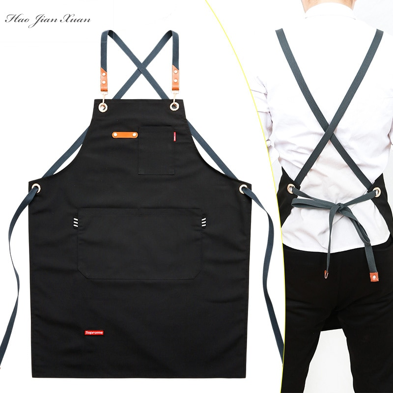 2021 New Fashion Unisex Work Apron For Men Canvas Black Apron Bib Adjustable Cooking Kitchen Aprons For Woman With Tool Pockets new cotton aprons фартук canvas pockets baking chefs kitchen cooking apron фартук кухонный chefs with hat household merchandises