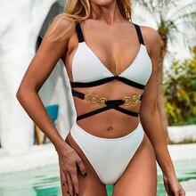 2020 Patchwork Sexy Ring Badeanzug Bademode Frauen High Cut Micro Bikini Biquini Backless Bikini Set Spitze Up Biquini Badeanzug