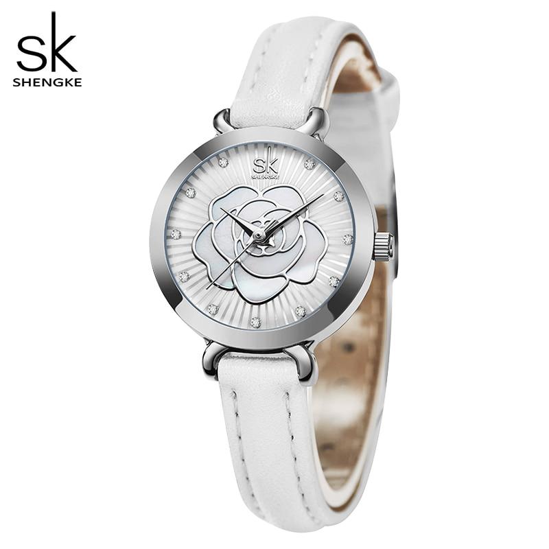 Shengke New Romantic Summer Women Watches White Grace Flower Mini 22 MM Dial Comfortable Leather Strap Japanese Movement Clock