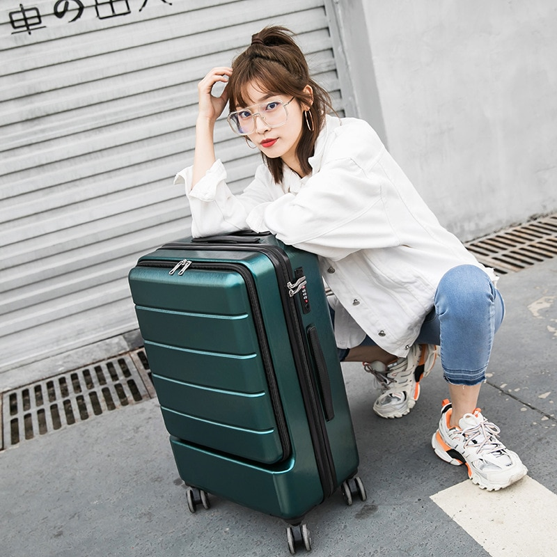 Factory Direct Sales of New 18-Inch Luggage Zipper Boarding Bag Caster Travel Trolley Travel Lugguge Password Suitcase