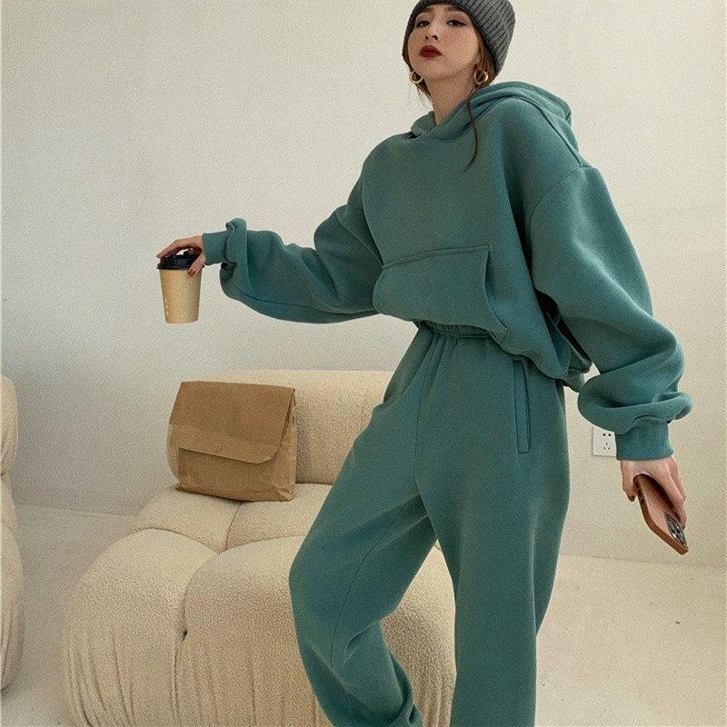بلوز نسائي بغطاء للرأس مصنوع من الصوف 100% ملابس رياضية من القطن بلوزات رياضية غير رسمية بلوفر ملابس رياضية منزلية