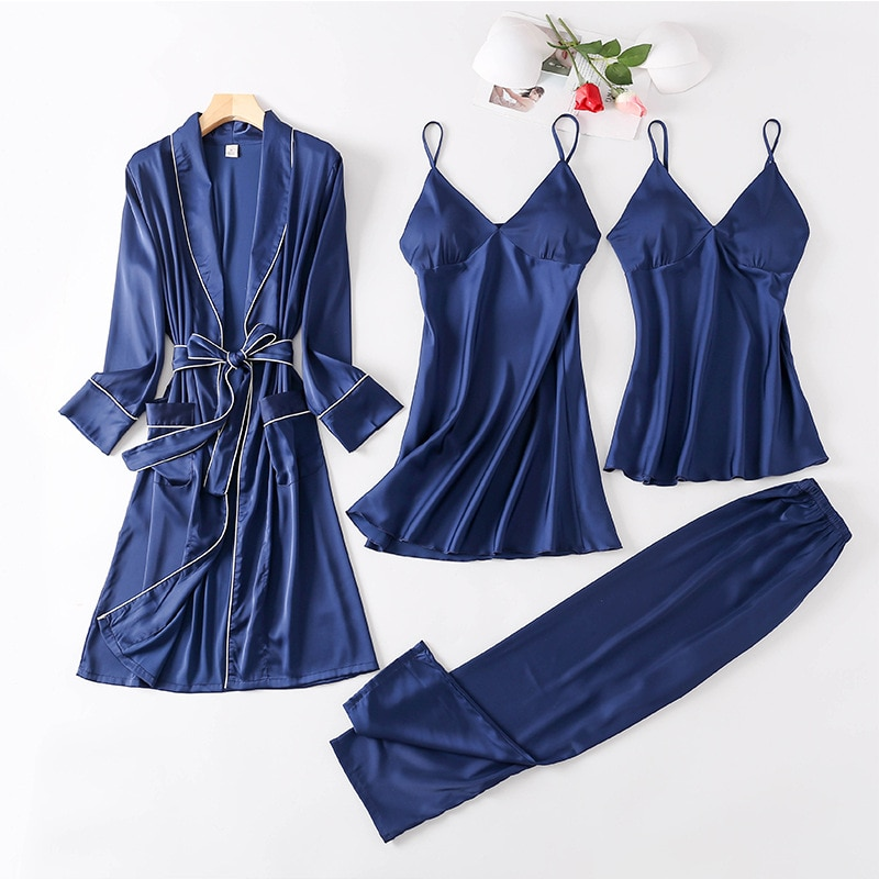 Satin Sleepwear Female with Chest Pads Sexy Women Pajamas Lace Silk Sleep Lounge 4 Pieces Sets Ladie