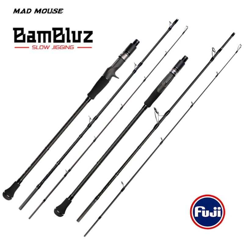 صنارة صيد MADMOUSE Bambluz ، 3 أقسام ، محمولة ، للقفز البطيء ، 1.9 متر ، أجزاء فوجي ، صب وغزل ، صنارة صيد يابانية عالية الجودة