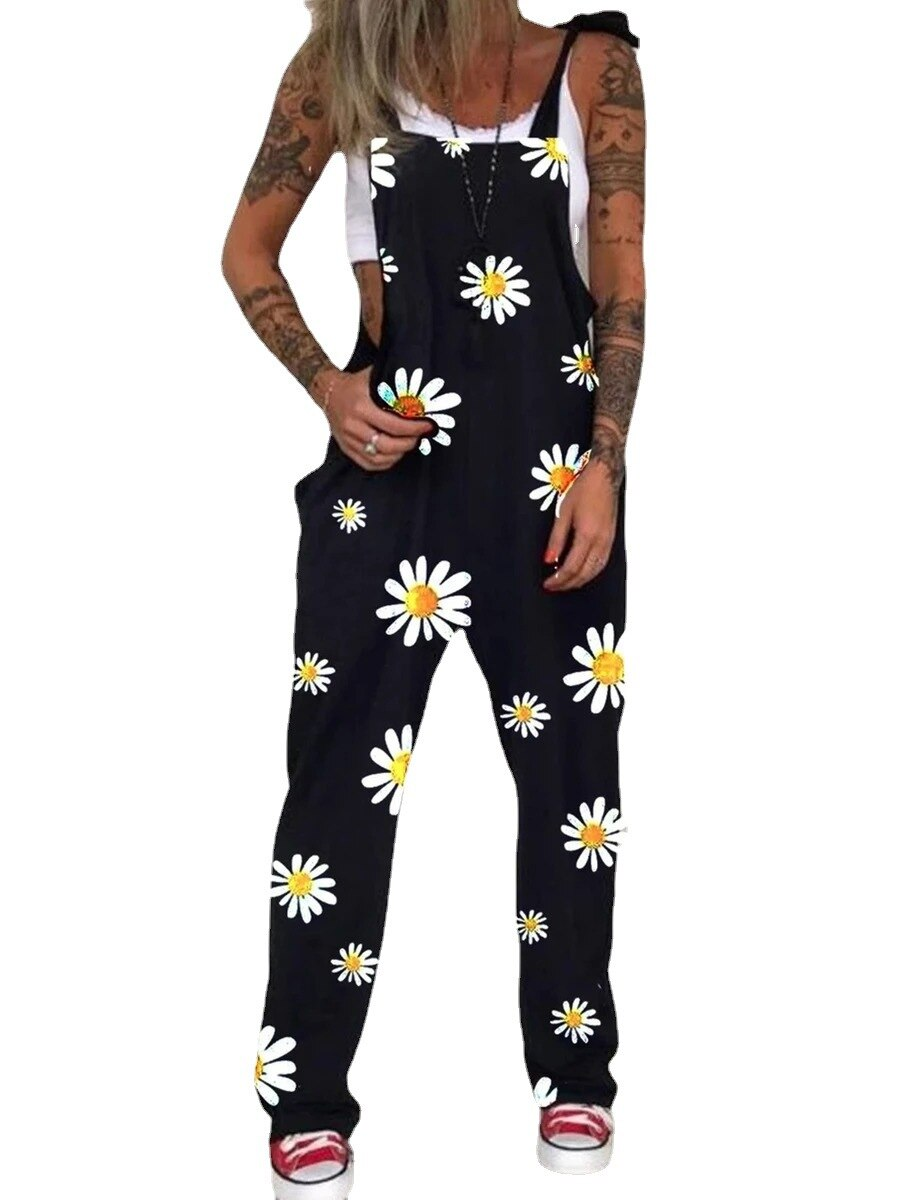 2021 Fashion Punk Skull Print Jumpsuit Summer Casual Pocket Overalls Bodysuit Women Sleeveless Strappy Loose Romper Playsuit