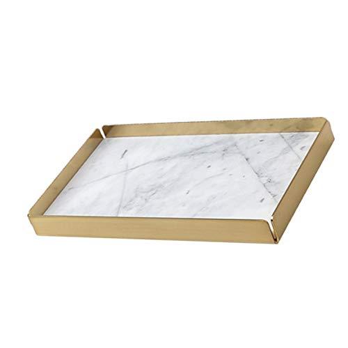 Bandeja rectangular de mármol Natural con Base de Metal desmontable chapado en oro