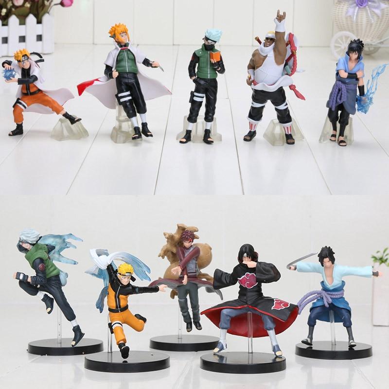 5 unids/set Naruto Shippuden figura de juguete Sasuke Uzumaki Kakashi Namikaze Minato Gaara PVC MODELO DE figura de acción juguete para regalo 6-13cm