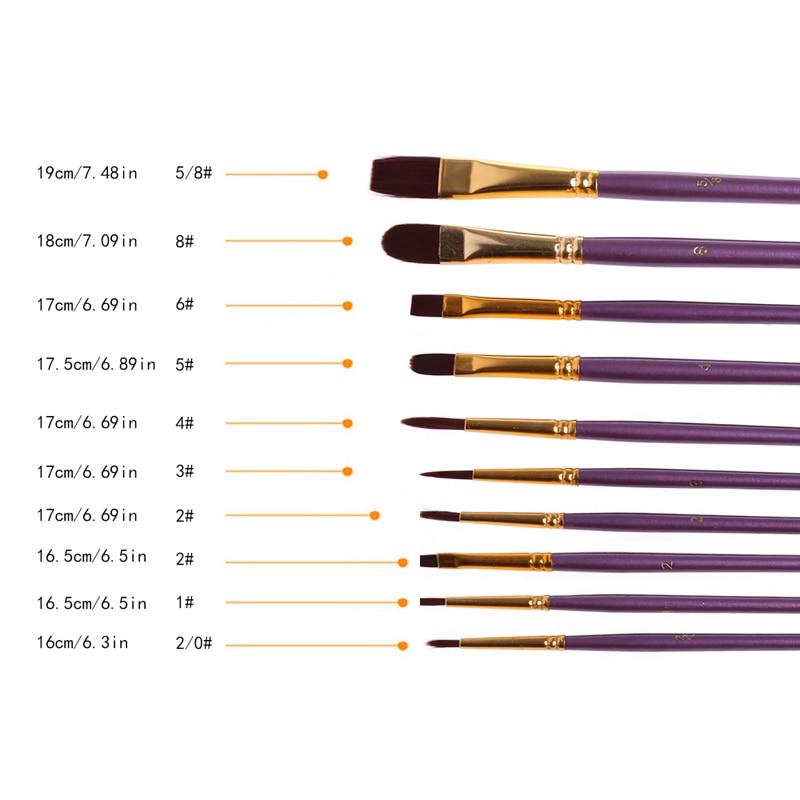 10Pcs Artist Paint Brush Set Nylon Hair Watercolor Acrylic Oil Painting Drawing 77HA enlarge