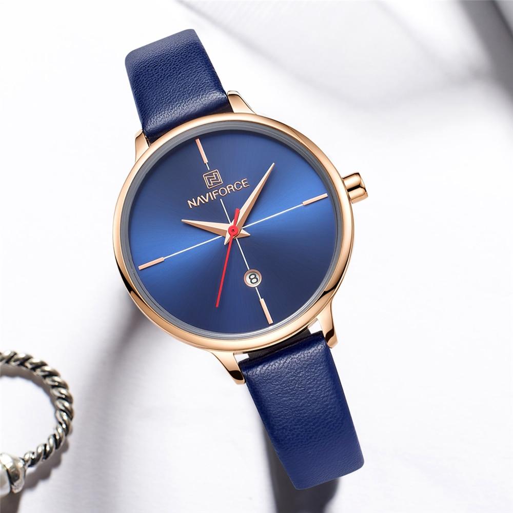 Naviforce Women's Watch Fashion Quartz Women's Blue Pu Strap Date Leisure 3atm Waterproof Watch For Girl's Wife  Watch For Women enlarge
