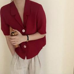 Feminino verão vintage vermelho curto blazer camisa de manga curta blusa cor sólida cardigan topo