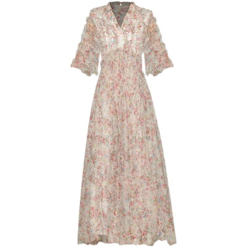 DIDACHARM فستان طويل جودة عالية 2021 صيف جديد المرأة موضة حفلة مثير خمر أنيقة أنيقة الخامس الرقبة المطبوعة شبكة فساتين