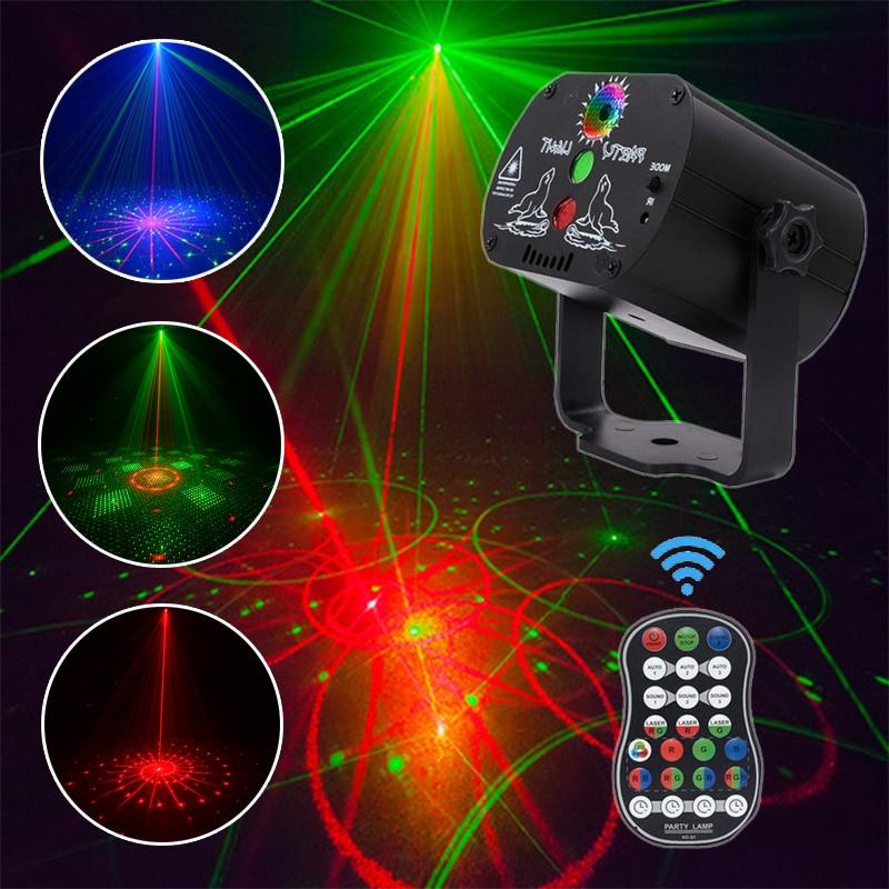 60 أنماط مصباح LED قرصي ليزر عيد الميلاد العارض كشاف إضاءة للحفلات USB قابلة للشحن RGB ضوء المرحلة للمنزل DJ هالوين المعرض