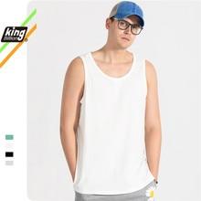 King Billion 100% cotton Mens summer mens vest  round neck sleeveless T-shirt loose cotton singlet mens tops casual