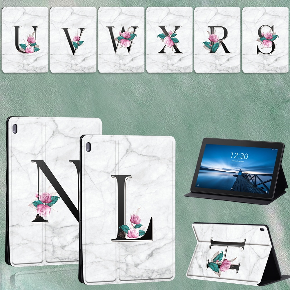 For Lenovo Tab E10 TB-X104F 10.1 Inch/Lenovo Tab M10 TB-X605F/TB-X505 10.1 Inch White Marble Pattern Tablet Case Cover + Pen
