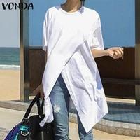 white tops casual blouse 2021 vonda summer sexy short sleeve o neck split hem party shirts female asymmetrical blusas oversized