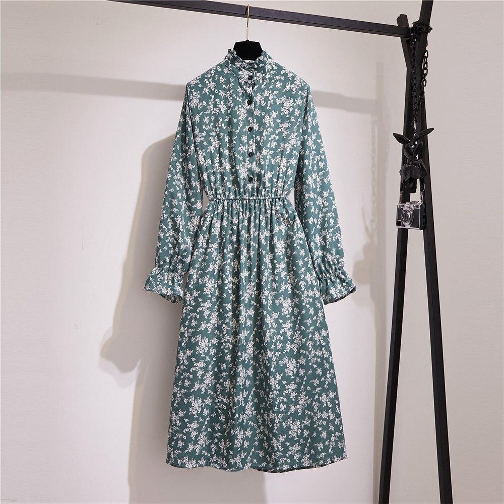 Spring And Autumn Floral Women Dress Standing Collar Long Sleeven Elastic Waist Button Print Midi Vintage Party Dresses Vestidos