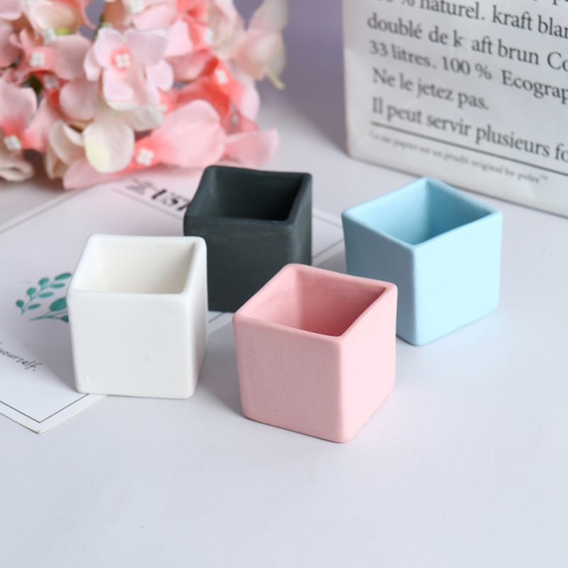 1/6, 1/8 casa de muñecas en miniatura de cerámica cuadrada de maceta de casa de muñecas, accesorios de Color caramelo