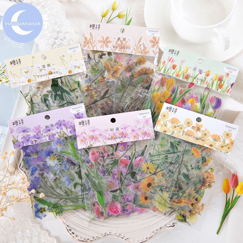 YueGuangXia Natural Sceneries Series Die Cutting Stickers Scrapbooking Planner Bullet Journal Deco Stationery Stickers 6 Designs