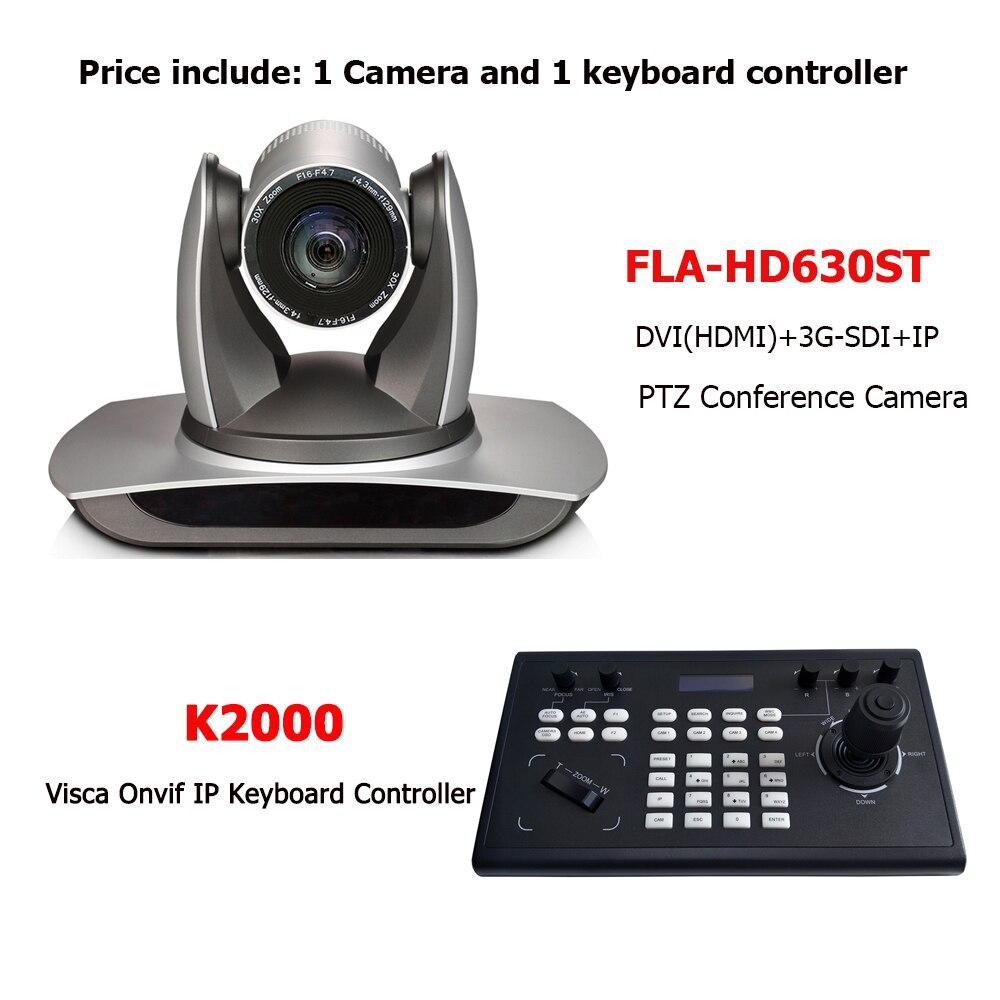 2Megapixel 30x Optical Zoom 1080P H.265 PTZ HD SDI DVI IP RTSP RTMP Onvif Video Conference Camera and IP Keyboard Controller