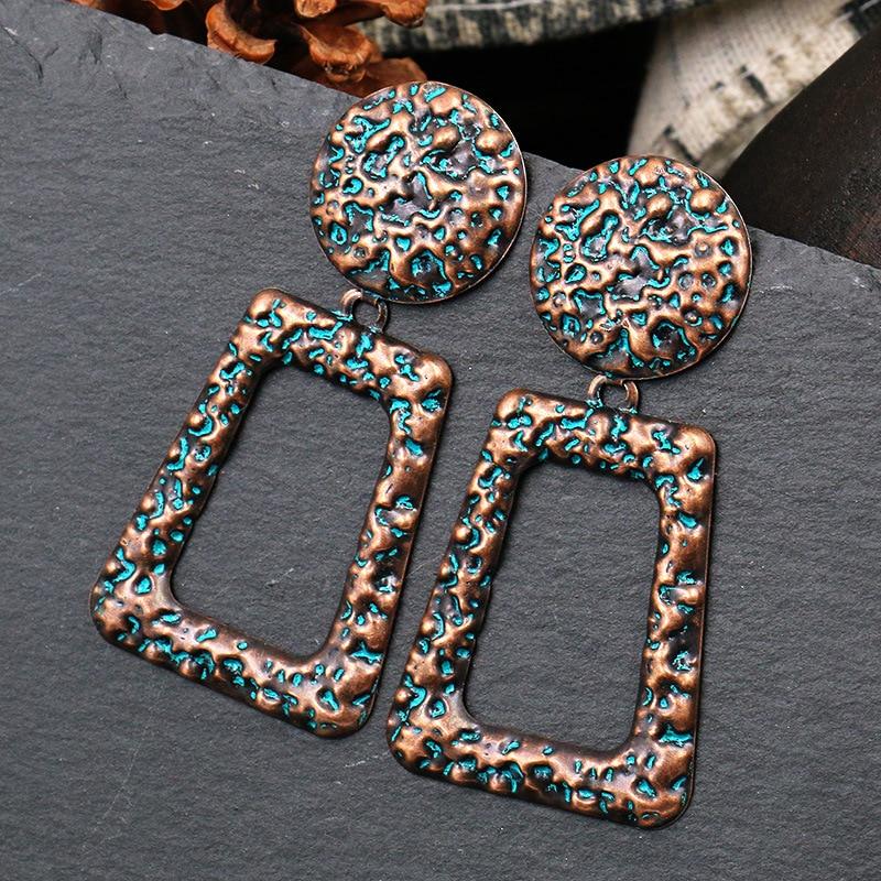 Verdigris patine vert cuivre martelé Rectangle Dangle boucle doreille ronde charme Long déclaration géométrique femmes bijoux
