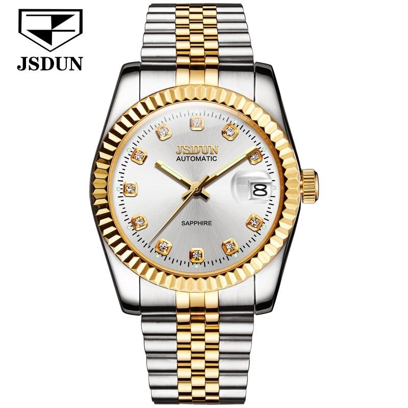 JSDUN Роскошные брендовые парные механические часы мужские часы женские мужские часы водонепроницаемые часы с ремешком из нержавеющей стали ...