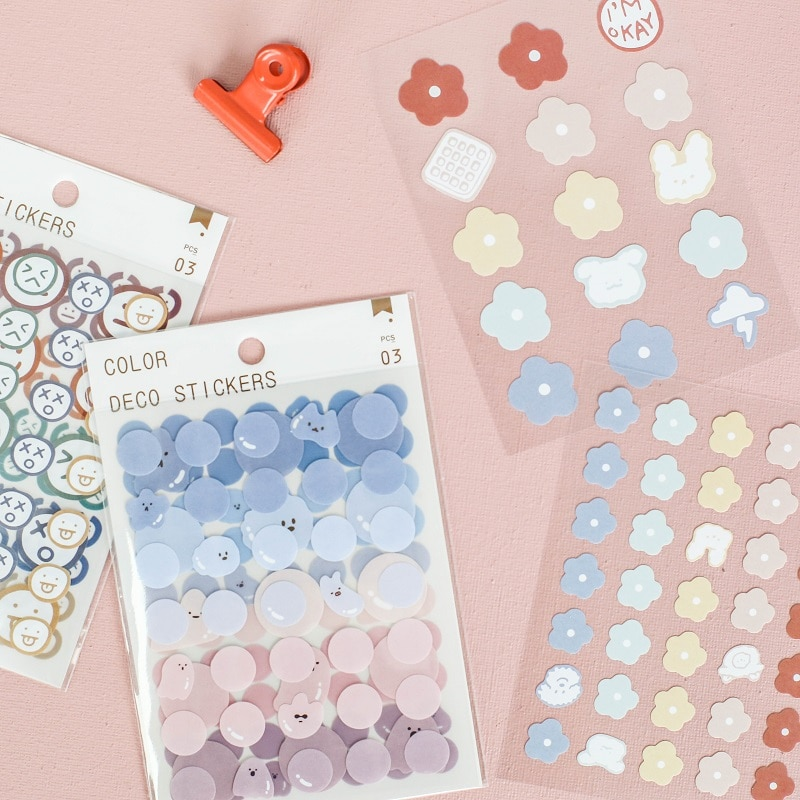 Mini decorative stationery stickers, DIY scrapbook tags, flower shape, aesthetic stickers for scrapbooks, diaries, handicrafts