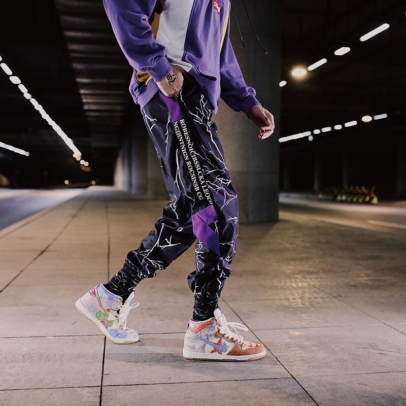 Side Stripe Track Jogger Pants Men 2020 Reflective Label Track Harem Pants Homme Streetwear Male HipHop