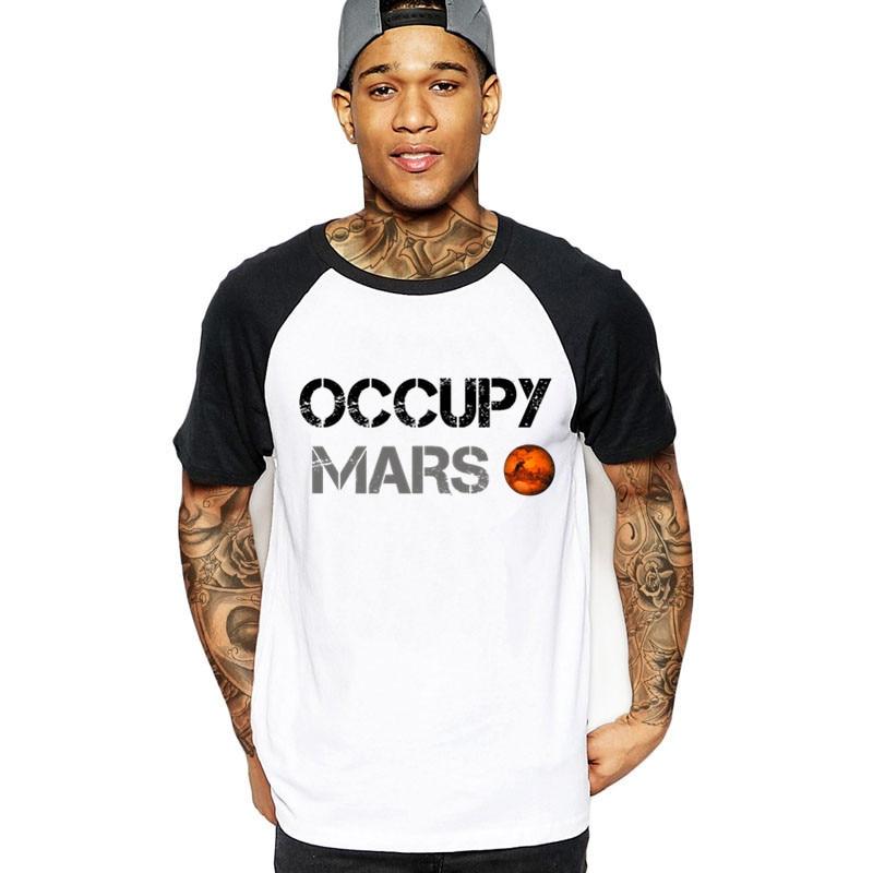 2020 Novelty Man's Occupy Mars SpaceX Starman T Shirt Cool Male Cotton Elon Musk Space X T-Shirt Summer Camiseta tshirt military