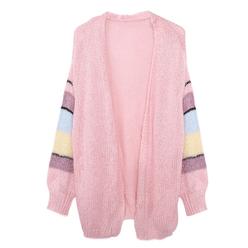 Women Mohair Knitted Cardigan Candy Color Striped Lantern Sleeve Sweater Coat enlarge