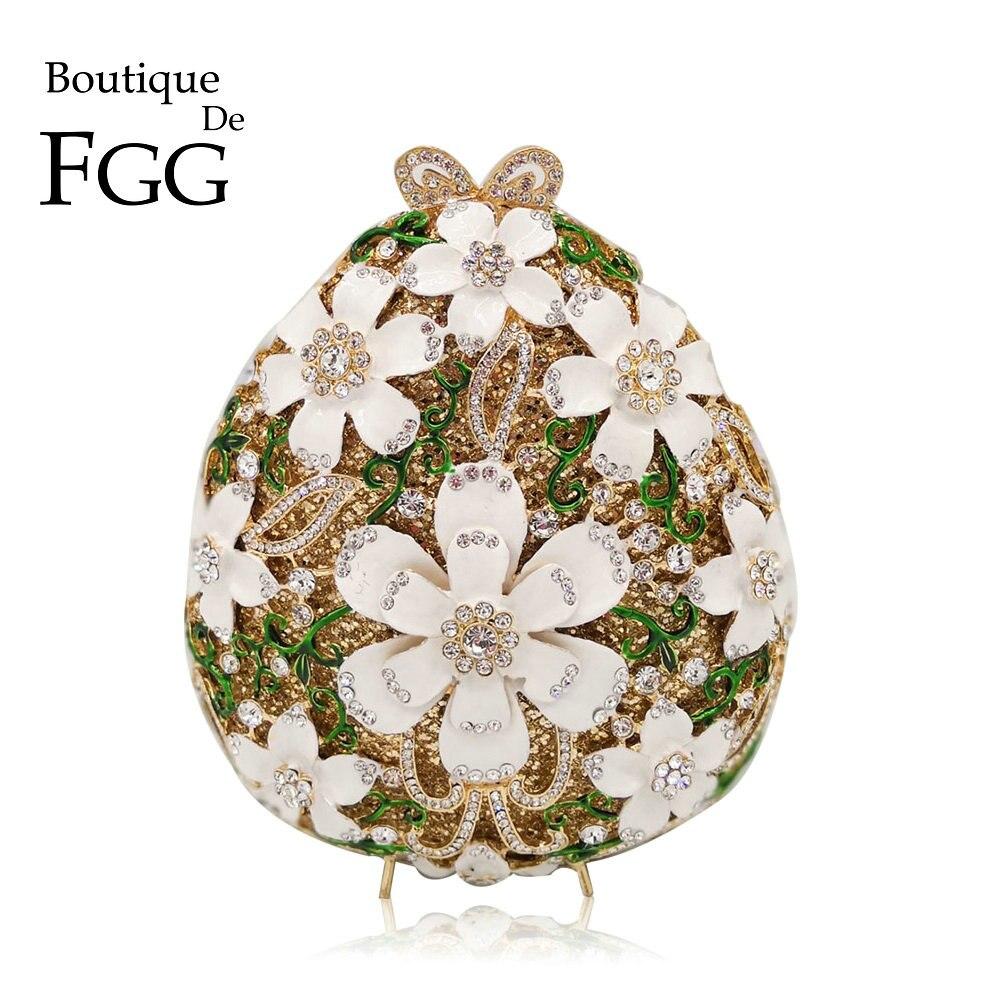 Boutique De FGG-حقيبة يد مزينة بالزهور الكريستالية للنساء ، حقيبة سهرة ، حقيبة زفاف ، حقيبة حفلات