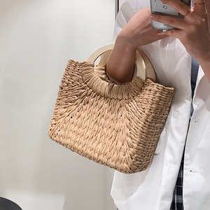 Small Straw Rattan Totes 2021 Summer New Fashion Women's Designer Travel Handbag Lady Brand Luxury Shoulder Beach Picnic Purses