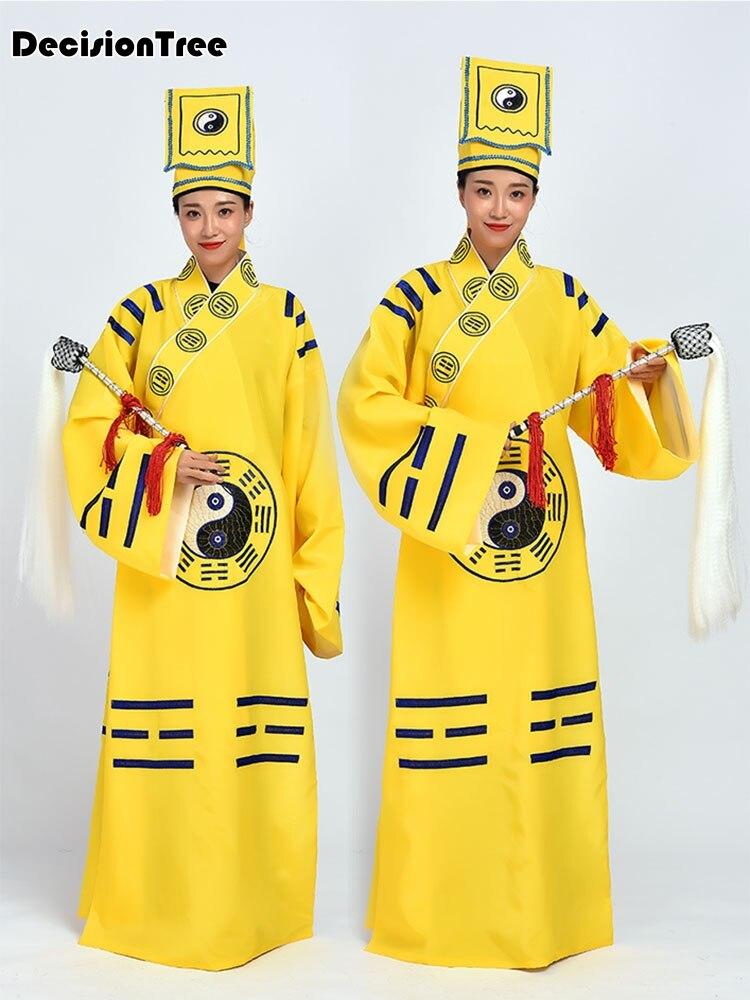 2019 unisex rojo amarillo bordado dragón bata taoísta trajes taoísta artes marciales vestido cassock tai ropa uniformes