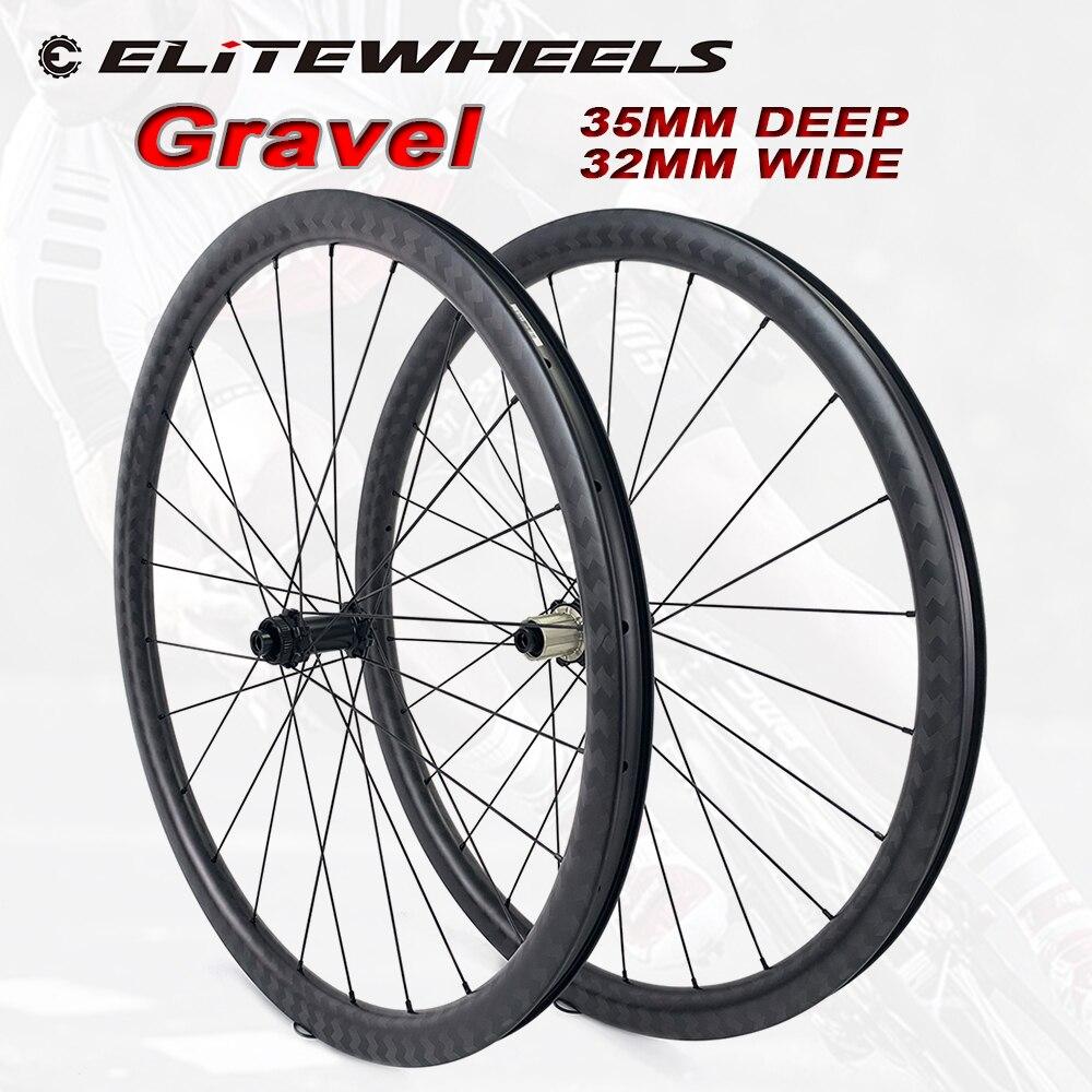 ELITEWHEELS Kies 700c Disc Bremse Bike Carbon Rad 32*35mm Tubeless Ready Fahrrad Carbon Felge RD05 Hub Und säule 1423 Speichen