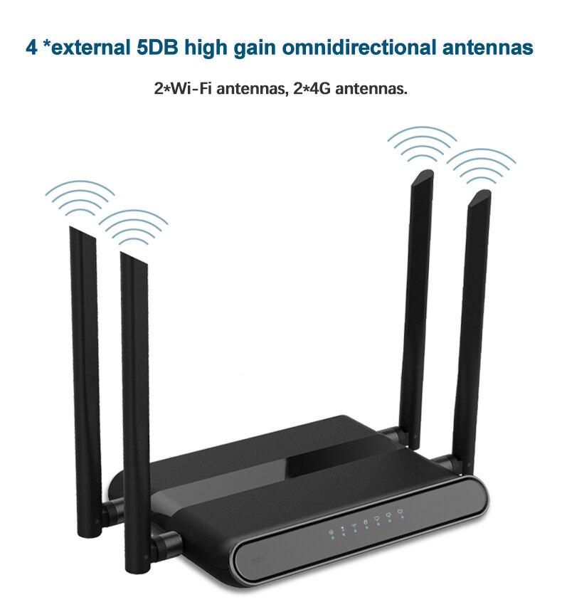 4 antena Wi-Fi 4G router 4 Puerto router con tarjeta SIM 2,4G router LAN WAN 10/100M USB WAP2 802.11n/b/g 300Mbps router inalámbrico