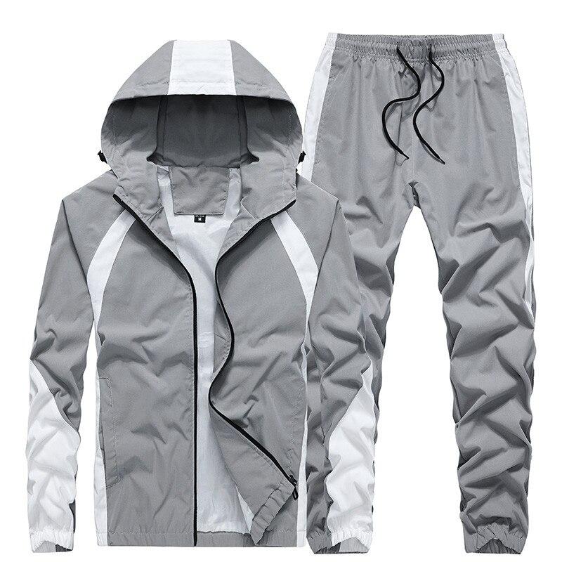 الرجال الأزياء الرياضية مجموعات دعوى جديد الخريف مقنعين رياضية الذكور 2 قطعة سستة معطف + Sweatpants عارضة الملابس