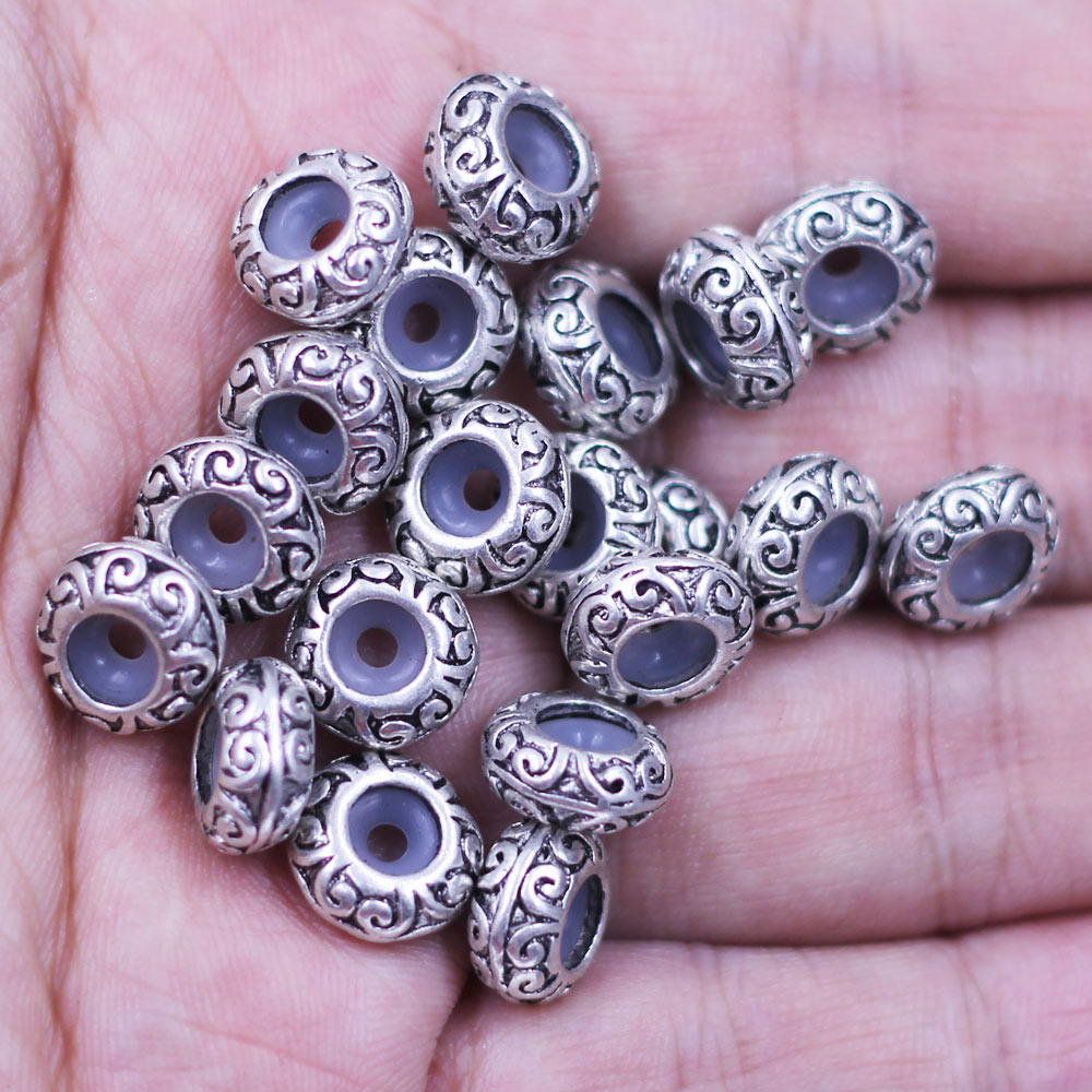 250Pcs Spacer European Beads Pattern Stoppers Rubber Fit Charm Bracelet Jewelry Findings Component 11x5mm