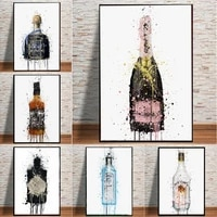nordic style champagne graffiti canvas painting poster prints wall abstract pictures for kitchen bedside background home decor